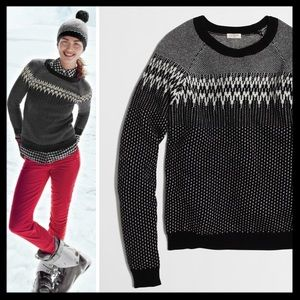 j. crew // fair isle nordic black knit sweater NWT